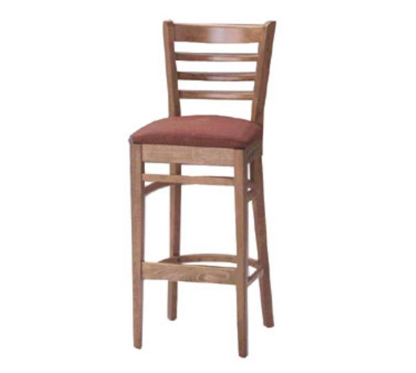 Waymar B28 Liberty Bar Stool, Wood Ladder Back, 1-1/2 in Upholstered Seat