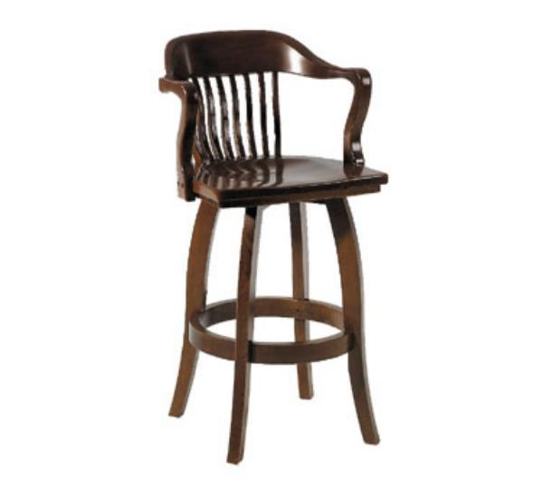 Waymar B408S Federal Bar Stool w/ Arms, Wood Spoke Back, 1-1/2 in Upholstered Seat