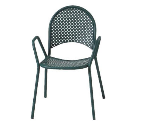 Waymar C105BLACK Garden Arm Chair, Metal Mesh Arched Back and Seat, Black
