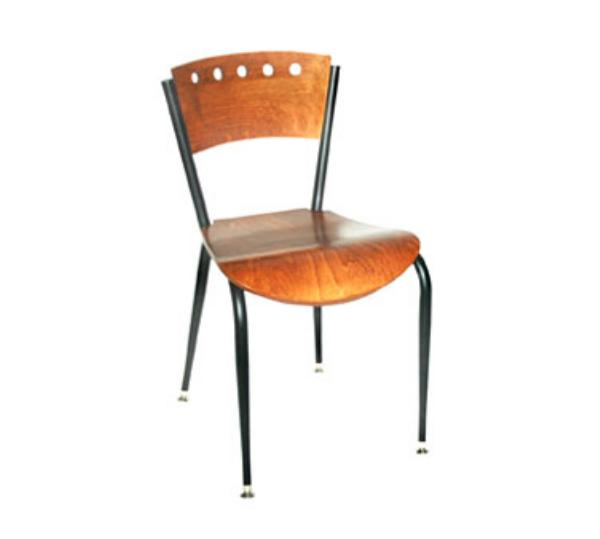 Waymar C318AWS Uptown Side Chair, Wood Back w/5 Holes Cutout, 1/2in Solid Beech Saddle Seat