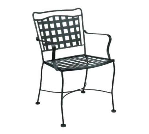Waymar C810 Patio Arm Chair, Grid Back, Wrought Iron