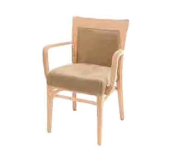 Waymar C822U1 Tuscan Arm Chair, Wood & Upholstered Back, 1-1/2in Upholstered Seat