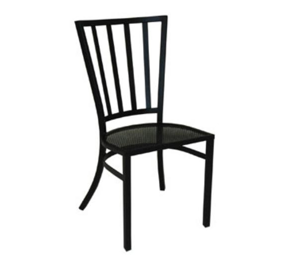 Waymar C837 Patio Side Chair, Slat Back, Wrought Iron