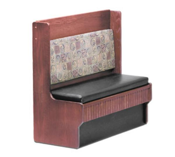 Waymar CD248S Camden 2 Dining Booth, Single, 48inL, Solid Wood w/ Upholstered Seat & Back