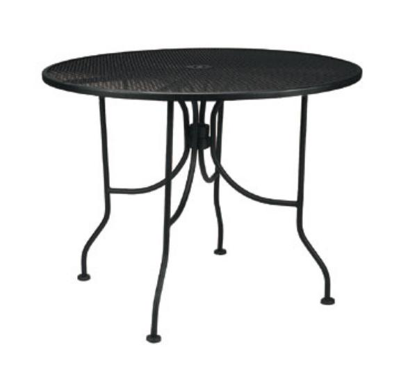 Waymar MT2948DM Patio Outdoor Table, 48 in Diameter, Metal Mesh Grid Top