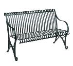 Waymar RB830 Patio Resting Bench, 50in L, Slat Back, Wrought Iron