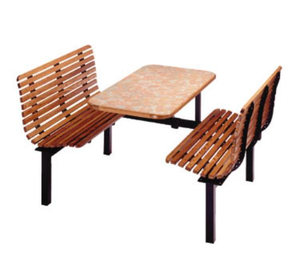 H Park Seating CS42 ContourSlat Seat, Wood Slat Seat and Back, 42in L