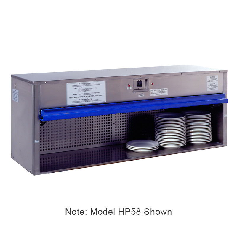 "Carter-Hoffmann HP65 65"" Plate Warmer w/ Removable Grease Filters, Flip-Up Door"