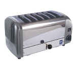 Cadco CTW-6M(220) 6-Slice Bread Toaster w/ 1-in slots, Metallic End Panels, 220 V