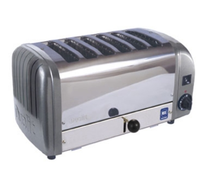 Cadco CTW-6M 6-Slice Bread Toaster w/ 1-in slots, Metallic End Panels, 208 V