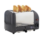 Cadco CTW-4M(220) 4-Slice Bread Toaster w/ 1-in slots, Metallic End Panels, 220 V