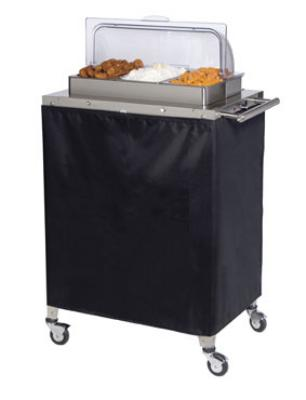 Cadco CBC3RT Buffet Warming Cart, Triple, Holds (3) 1/3 Size Steam Pans