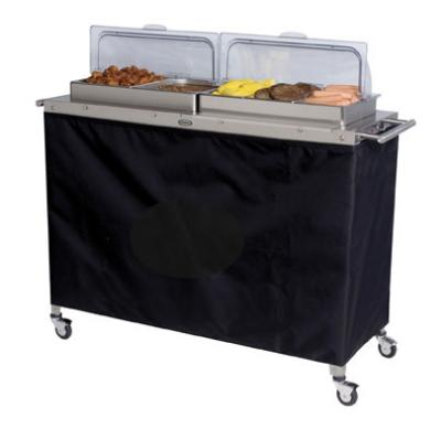 Cadco CBC5RT Buffet Warming Cart, Holds (4) 1/2 & (3) 1/3-Size Steam Pans