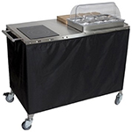 Cadco CBC-PHR-3-L6 Large Mobile Sampling Demo Cart - Double Buffet Server, 3-Third Size Pans