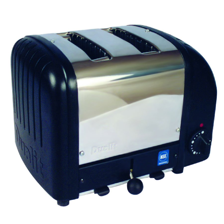Cadco CBT2B Toaster, 2-Slice Bagel, 1.25 in. wide Slots, Black End Panels