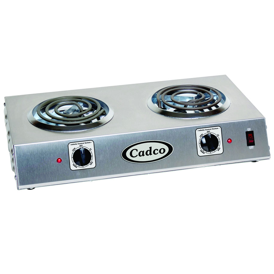 Cadco CDR-1T Counter Hot Plate w/ Double Burner, Infinite Controls