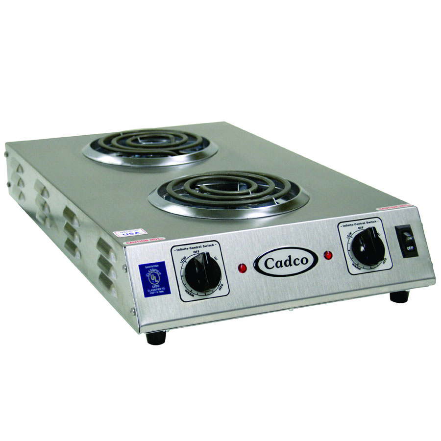 "Cadco CDR-1TFB 13.5"" Electric Hotplate w/ (2) Burners & Infinite Controls, 120v"