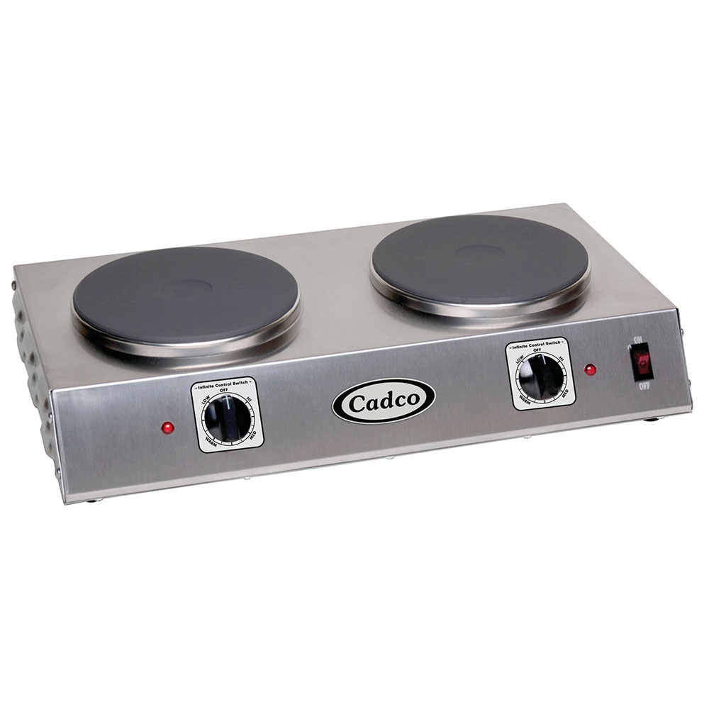 "Cadco CDR-2C 21.25"" Electric Hot Plate w/ (2) Burners & Infinite Controls, 120v"