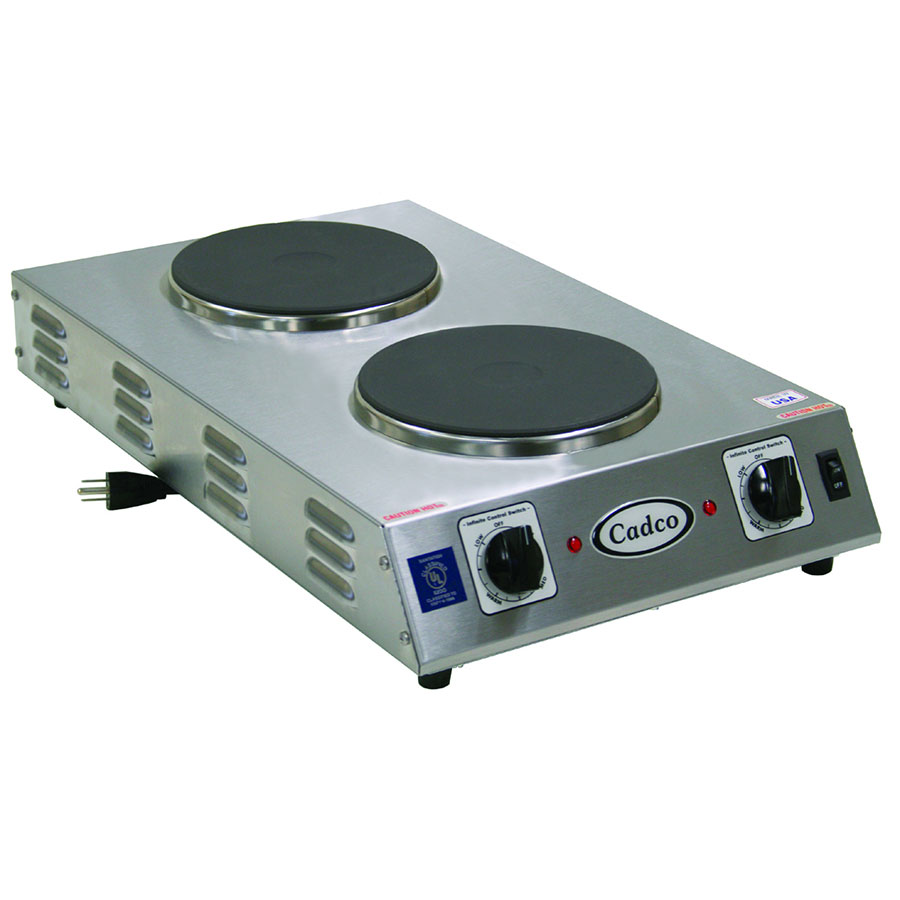 Cadco CDR-2CFB Counter Hot Plate w/ Double Cast Iron, Burner, Infinite Controls