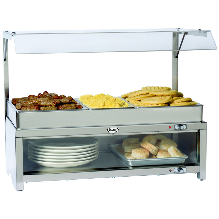 Cadco CMLBCSG Warming Cabinet w/ Sneeze Guard & Buffet Server Top