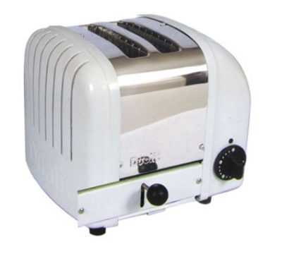 Cadco CTW2 Toaster, Pop-Up, 2 Slice Bread Toaster, White End Panels