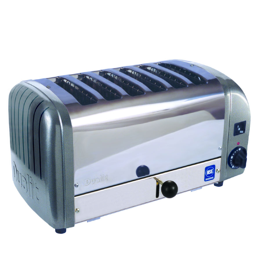 "Cadco CTW-6M 6-Slice Bread Toaster w/ 1"" slots, Metallic End Panels, 208 V"