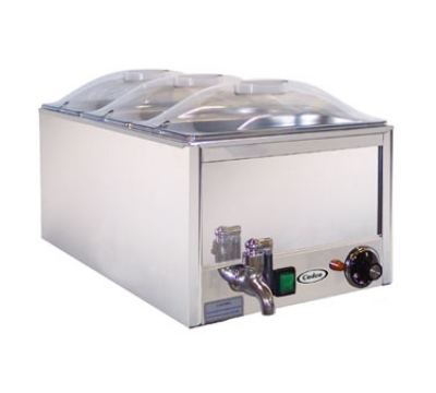 Cadco DWW3P Triple Well Warmer w/ (3) 1/3 Size Insert, Water Drain Spigot, 120 V