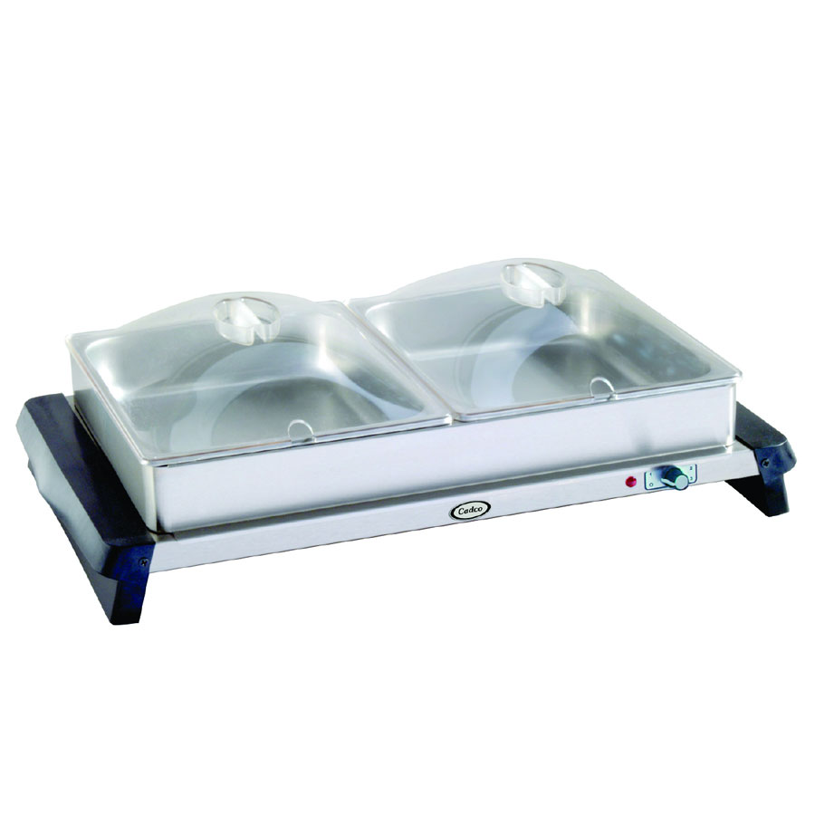 Cadco WTBS2P Countertop Double Buffet Server w/ Warming Base & Pan, Clear Lid, 120 V