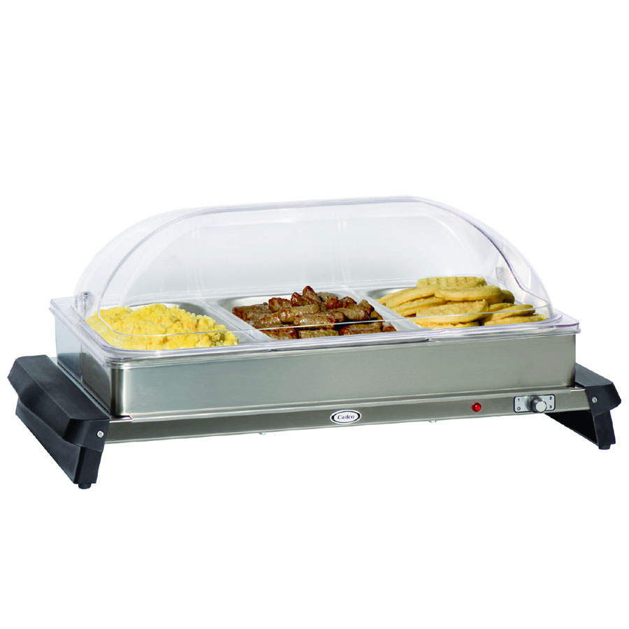 Cadco WTBS3RT Countertop Triple Buffet Server w/ Warming Base & Pan, Rolltop, 120 V