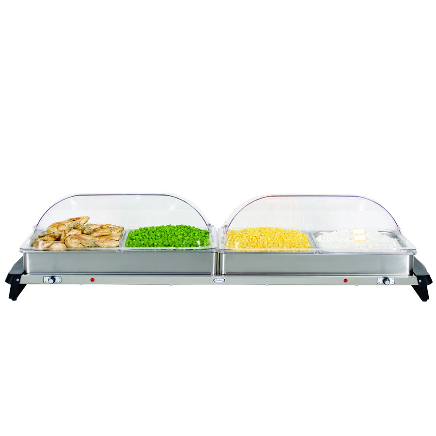 Cadco WTBS4RT Countertop Jumbo Buffet Server w/ Warming Base & Pan, Rolltop, 120 V