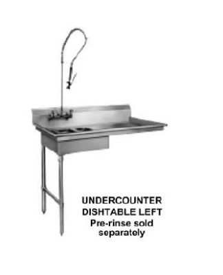 CMA SL-U 48-in Dishtable For Undercounter Type Dishwasher, Sink on Left