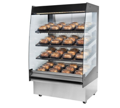 "B.K.I. HSS3-4S 208 36"" Hot Self Serve Merchandiser, Marine Edge, (4) Slanted Short Shelf, 208/1 V"