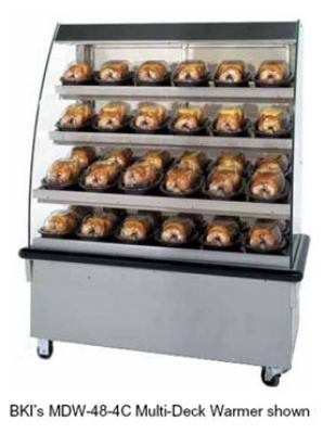 "B.K.I. MDW-48-4CT 2081 48"" Self-Service Countertop Heated Display Case w/ Curved Glass - (5) Levels, 208v/1ph"
