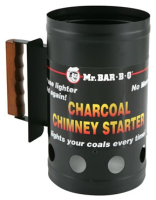 Chef Master / Mr. Bar B Q 02102 Charcoal Chimney BBQ Starter, Wooden Handle