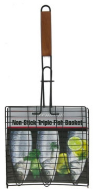 Chef Master / Mr. Bar B Q 06051P 27 in Non-Stick Triple Fish Basket, Wooden Handle