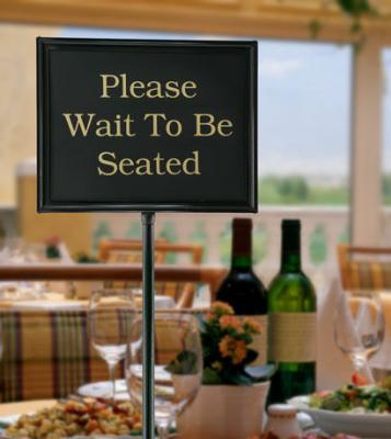 Chef Master / Mr. Bar B Q 90033 Double Sided Floor Teller Sign w/ 11 x 14-in PVC Signs, Black