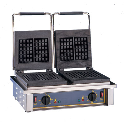 Equipex GED10 Double Waffle Baker w/ Cast Iron Plates, Thermostatic, 220v/1ph