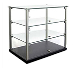 Equipex TN583 3-Tier Enclosed Dual Service Pass-Thru Display w/ 2 Glass Shelf
