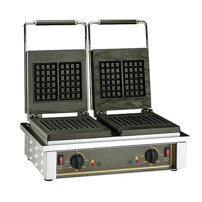 Equipex GED10 Double Brussels Waffle Baker w/ Drip Tray - Stainless, 220v/1ph