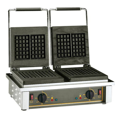 Equipex GED20 Double Liege Waffle Baker w/ Drip Tray - Stainless, 220v/1ph