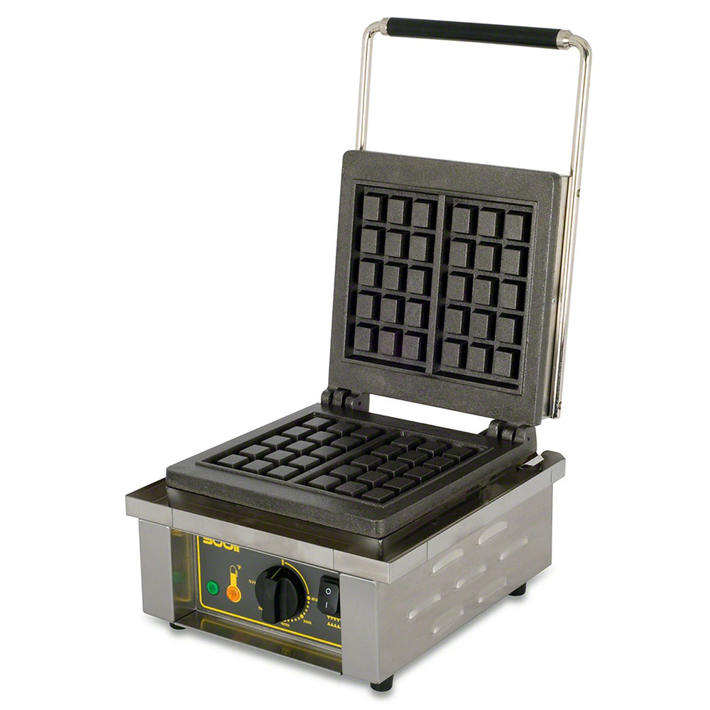 Equipex GES10 Single Brussels Waffle Baker w/ Drip Tray - Stainless, 220v/1ph