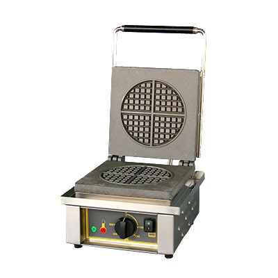 "Equipex GES70/1 Single Waffle Maker w/ ""Round"" Pattern Plates - Stainless, 120v/1ph"