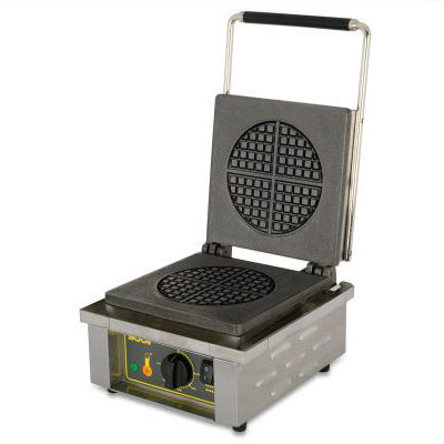 Equipex GES75 Single Round Waffle Baker w/ Drip Tray - Stainless, 220v/1ph