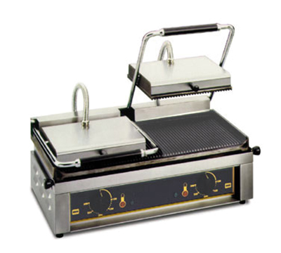 Equipex MAJESTIC Double Commercial Panini Press w/ Cast Iron Grooved Plates, 208-240v/1ph