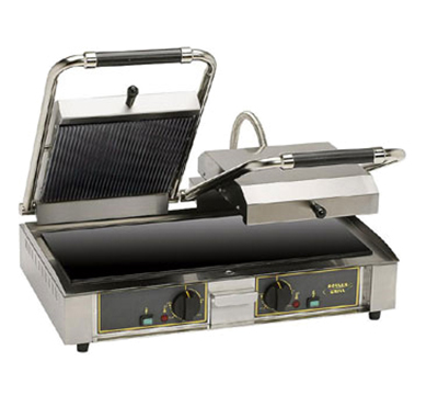 Equipex MAJESTICVC GS Double Commercial Panini Press w/ Glass Ceramic Grooved Top/Smooth Bottom Plates, 208-240v/1ph