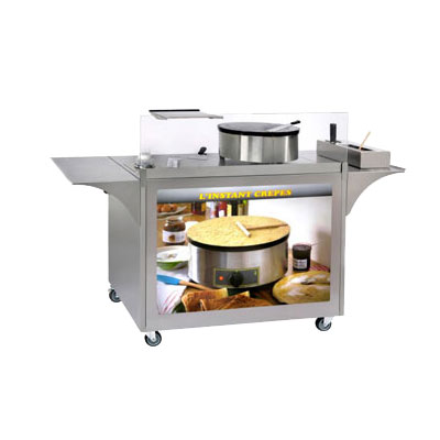 "Equipex MC-04 Mobile Crepe Cart - 32.5"" x 39"" x 24"", Stainless"