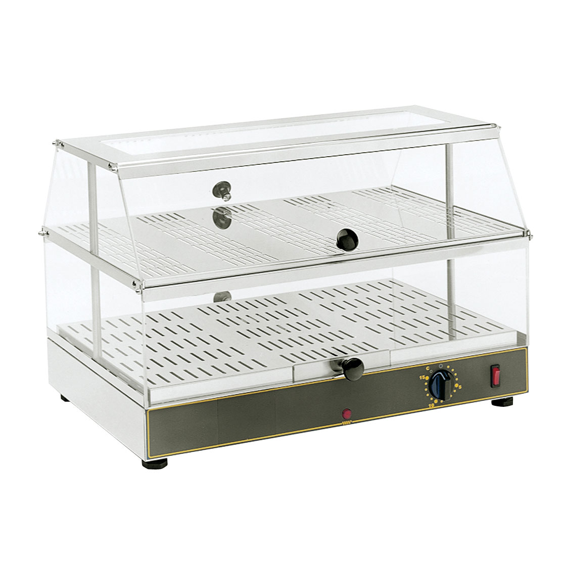 Equipex WD-200 Countertop 2-Shelf  Plexiglass Display Warmer w/ Lift Up Doors, 120v