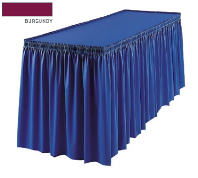 Snap Drape 1FSMAR83030 BUR 8-ft Marquis Fitted Table Cover Set w/ Shirred Skirt, Burgundy