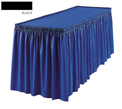 Snap Drape 1FSMEL63030 BLK 6-ft Melrose Fitted Table Cover Set w/ Shirred Skirt, Black
