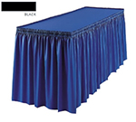 Snap Drape 1FSMEL83030 BLK 8-ft Melrose Fitted Table Cover Set w/ Shirred Skirt, Black